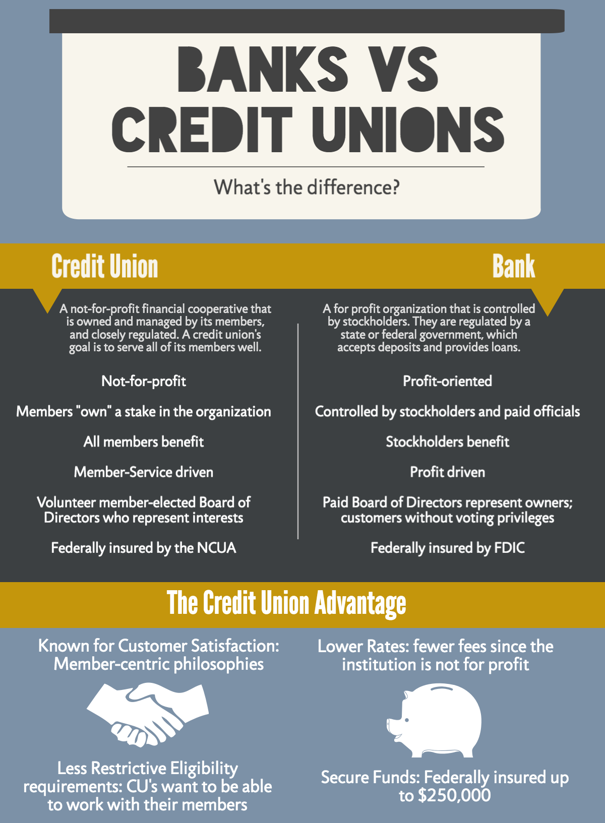 Banks vs. Credit Unions infographic