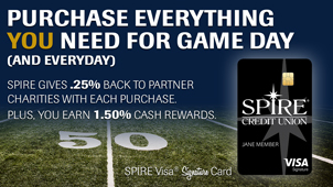Purchase everything you need for game day and everyday with the SPIRE Visa Signature Card